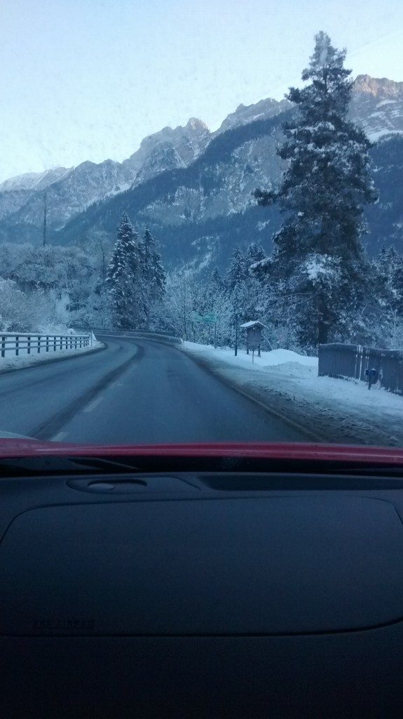 driving through austria snow mountains