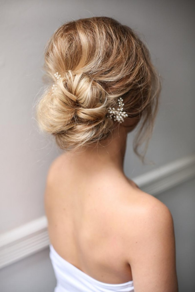 bridal wedding hair updo loose low bun hair piece