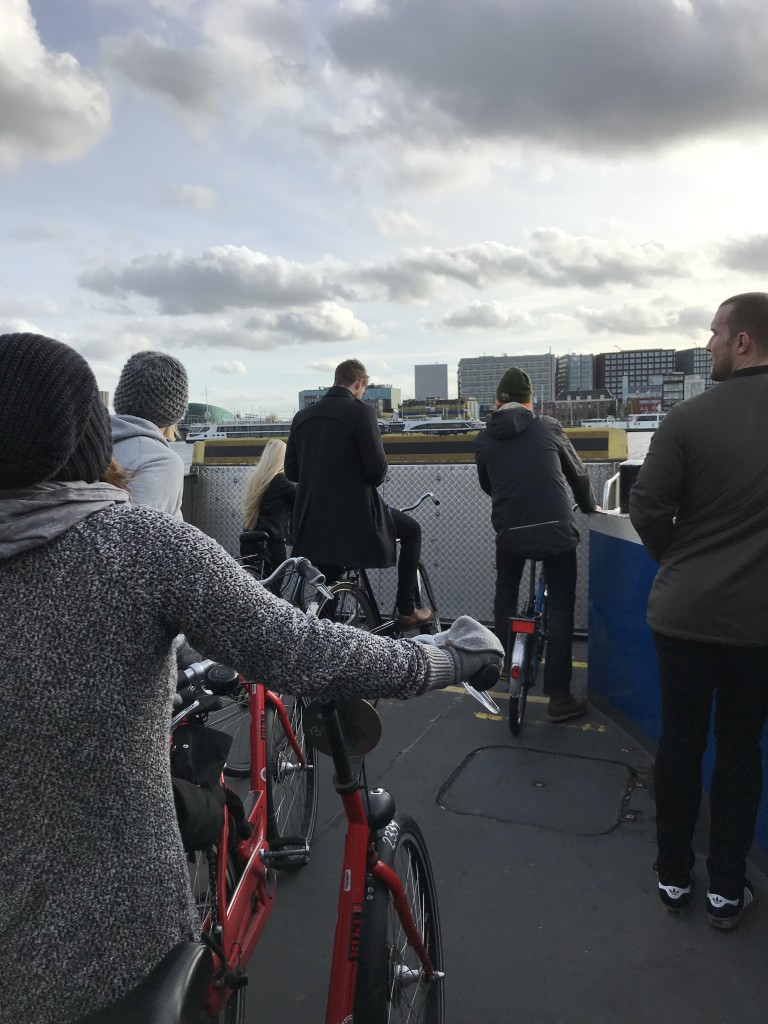 ferry boat crossing bikes amsterdam