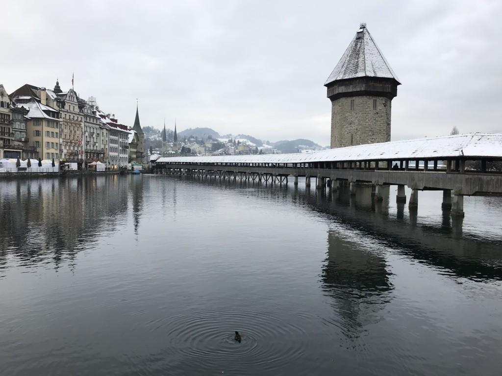 lucerne bridge Kapellbrücke in the snow