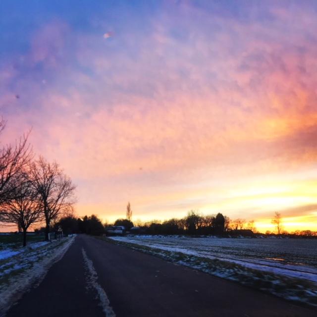 sunset snow in cambridge