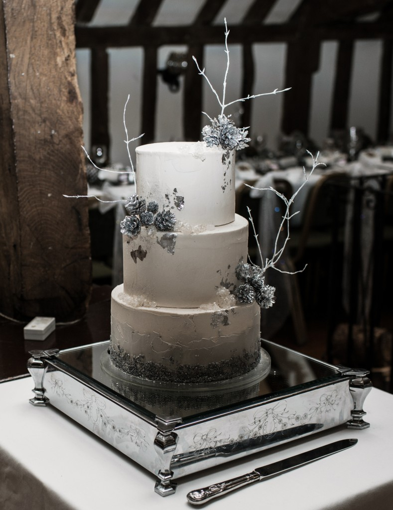 winter wedding cake silver sparkles rustic pine cones twigs
